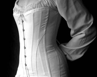 Titanic Over Bust Corset Edwardian c.1912 Erte' center front busk opening long line garters early 20th century shaper early 1900s
