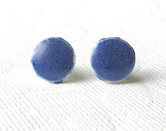 SALE! Small Blue Earrings. Round. Stud Earrings. Cobalt Blue. Ceramic. Sapphire. Royal Blue. Clay. Posts. Surgical Steel. Circle. Minimalist