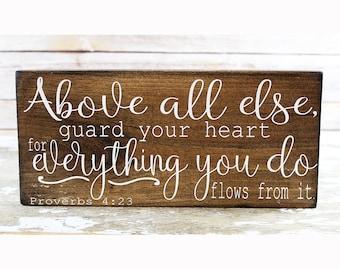 Proverbs 4:23 Scripture Wall Art, Christian Gift for Women Bible Verse Wall Art, Religious Wall Art, Christian Wall Art, Scripture Wood Sign