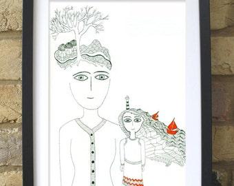 ORIGINAL artwork, Handmade drawing, One of a kind, Illustration, Wall decor, art, decoration