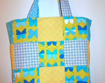 Yellow and Blue Butterfly Quilted Tote Bag