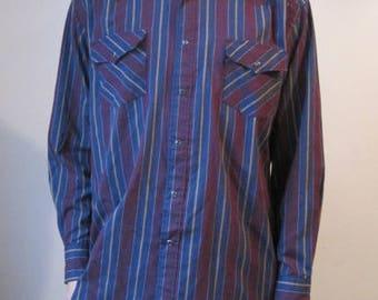 VINTAGE SASSON Shirt Mens M Medium Pearl Snap Button Striped Western