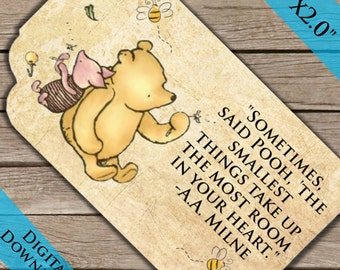 Winnie the Pooh Gift Tags! Digital Download! Printable Thank you tags! Pooh Bear 100 acre woods tags!