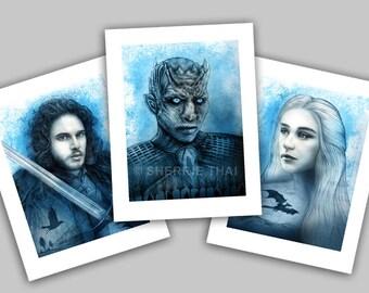 Game of Thrones Portraits, Jon Snow, Whitewalker Night King and Daenerys Targaryen Poster Designs, Art Prints, Set of 3, Sale