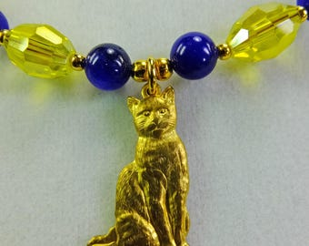 Kitty Cat Pendant on Necklace with Royal Blue Glass Beads and Yellow Crystal Glass Beads with Tiny Gold Plated Spacer Beads