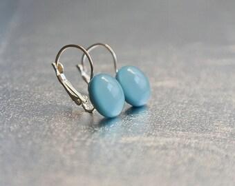 Pale blue dangle earrings - blue long earrings - glass dangle earrings - pale blue leverback earrings - turquoise blue long earrings
