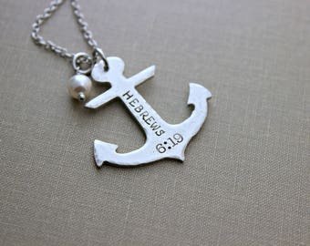 Hebrews 6:19 necklace, Silver anchor necklace with Pearl, Pewter Nautical anchor with stainless steel chain, Hope anchors the soul
