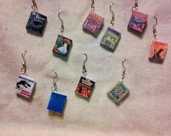 Book earrings,  Harry Potter earrings, custom books.