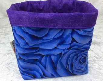 Blue Roses fabric basket storage bin box