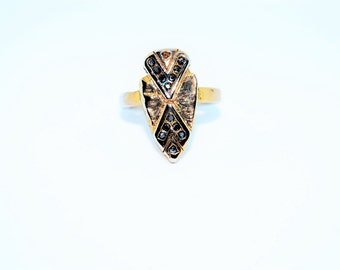 Vintage Inspired Gold Tribal Arrow  Ring