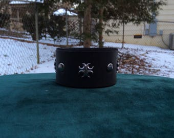 Black Leather Cuff with Gunmetal Rivets