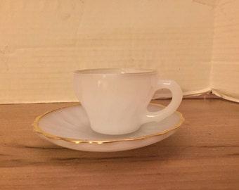 Vintage Childs Milk Glass Cup & Saucer