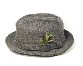 Vintage Stetson Gray Tweed  Wool Fedora Brand Hat Pin Green Feather 7 1/4 Mens
