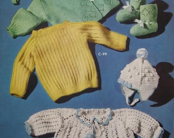 1950's 7 Vintage Knitting and Crochet PDF Patterns Baby Sweaters Booties Hats C97-C100