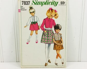 Girls Blouse and Skirt Simplicity Pattern, 1968 Pattern #7837 Size 8 Breast 27 Uncut with Instructions