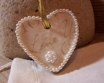 Love You Heart Ornament - clay, pearls - ooak heirloom keepsake - gift of love