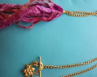 Gold and Magenta Silk Sari Ribbon Tassel Necklace