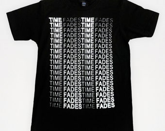 Times Fades - Screen-printed T-Shirt (White on Black)