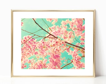 Extra large wall art canvas art, canvas wall art, cherry blossom art, spring decor, framed wall art, flower photography, blush pink wall art
