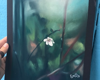 One White Flower Pastel Drawing