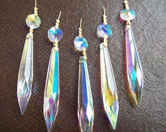 5 Iridescent AB 76mm Icicle Chandelier Crystal Prisms