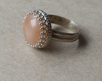 Peach Moonstone Ring in Crown Bezel