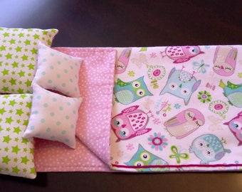 Sleepy Owls 5 piece 18 inch doll bedding