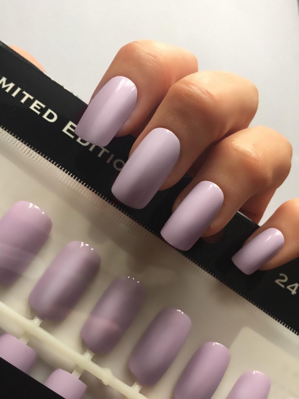 lilac creme Long square straight style press on false nail set.