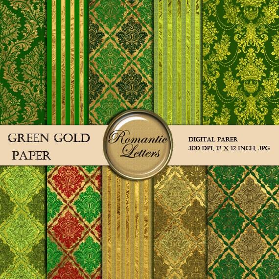 Digital Paper Pack Damask Gold Texture Green