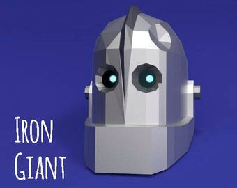 The Iron Giant helmet (PDFfile for print + instruction) / Haloween mask / Iron Giant and Hogarth / DIY printable mask / Instant Pdf download
