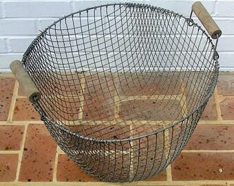 Antique Vintage Metal Basket Antique Vintage Farm Basket With Wooden Handles Vintage Flower Basket