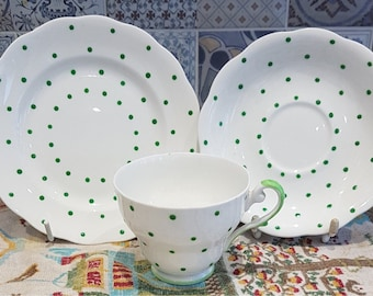 Royal Standard Green Dot Trio- cup, saucer and side plate. Vintage