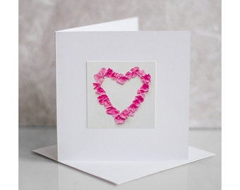 Valentines greeting card. Pink hydrangea heart. Photo greeting card. Heart greeting card. Blank card. Hydrangea heart valentine's card.