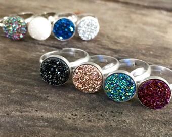 Druzy Ring, Drusy Ring, Gemstone Ring, Druzy Quartz Jewelry, Sterling Silver Ring