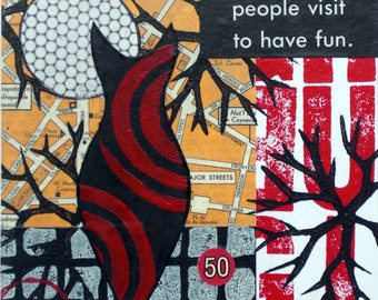 Original Mixed Media Abstract Collage - Places People Visit