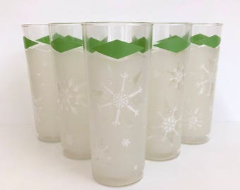 Anchor Hocking Frosted Tom Collins Glasses 1960's