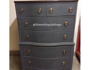 Vintage Highboy Dresser, Chest on Chest Highboy, 6 Drawers, dark blue Dresser, tallboy