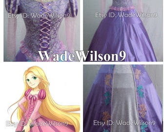 Tangled Rapunzel Princess Cosplay Dress Tangled Rapunzel Cosplay Costume Type 2 Handcraft Size