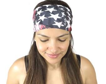 Fitness Headband Workout Headband Printed Headband No Slip Yoga Headband Hair Accessories Boho Running Spandex American Flag Hair Wrap S120