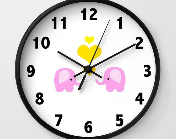 Wall Clock - Nursery Clock - Elephants - Pink Elephants with Yellow Hearts - Choice of Frame Color - Made to Order
