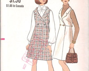 "Vintage 1969 Vogue 7635 Mod High Waisted Jumper Sewing Pattern Size 12 Bust 34"" UNCUT"