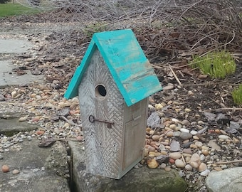 Grey Whitewashed Key to My Heart Birdhouse with Turquoise Roof