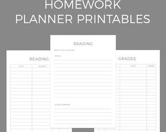 Homework Planner Printables A4 + US Letter Size