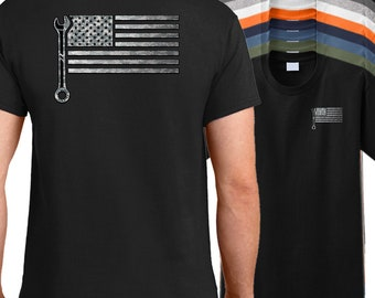 USA Mechanic Flag T-Shirt, American flag mechanics shirt, auto mechanic shirt, diesel mechanic shirt