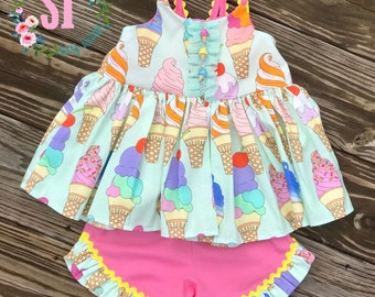 Girls Ice Cream Boutique Short Set for Summer Ruffle Shorts Ruffle Top Hand Made