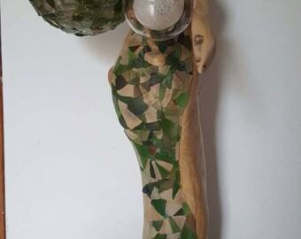 Sculpture en bois flotté,sculpture sur bois,art,décor bois flotté,sculpture lumineuse,verre de plage dépoli,art déco verre dépoli,moderne
