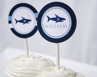Shark Party Printable Cupcake Topper