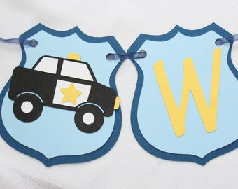 Police Car Baby Shower Banner - Police Baby Banner - Baby Boy Banner - Party Banner - Party Decor