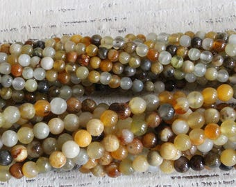 4mm, 3mm Round Natural Jade Beads For Jewelry Making Supply - Moonflower Jade - 16 Inch Strands