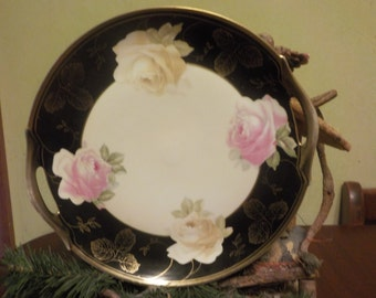 Vintage Royal Munich bavaria Cake plate, Pink And White Roses, Hand Painted